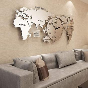 reloj mapamundi pared